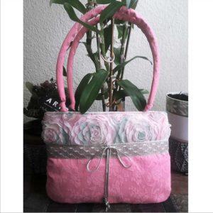 Pink 3D virágmintás táska