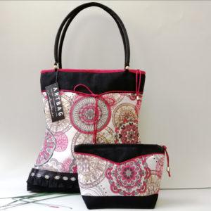 Fekete -piros mandala mintás táska Shoulder bag with mandala patterns