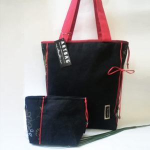 Fekete-piros táska szett