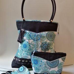 Kék mandalás táska szett / classic artbag modell ,with mandala patterns