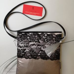 Sportos csipke -textilbőr utcai táska / Hand made bag with lace application