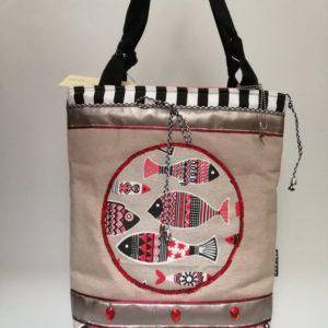 Lenvászon ,halas női táska ,flitteres díszítéssel/ Canvas tote bag with fish application