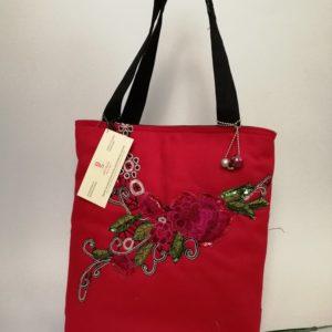 ÚJ -piros ,különleges női táska applikált virágmotívummal / Red denim bag with lace application